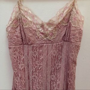 Women's Vintage Baby Pink Lace Babydoll Lingerie